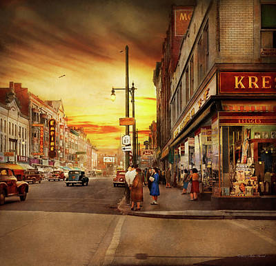 Poster featuring the photograph City - Amsterdam Ny - The Lost City 1941 by Mike Savad