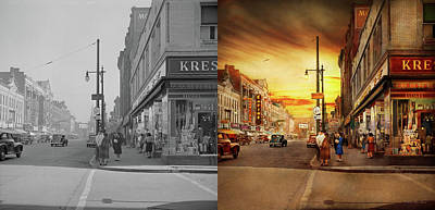 Poster featuring the photograph City - Amsterdam Ny - The Lost City 1941 - Side By Side by Mike Savad