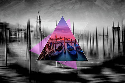 City Art Venice Canal Grande And Gondolas At Sunset - Geometric Collage II Poster by Melanie Viola