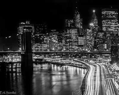 City At Night Poster by Erik Sverdlov