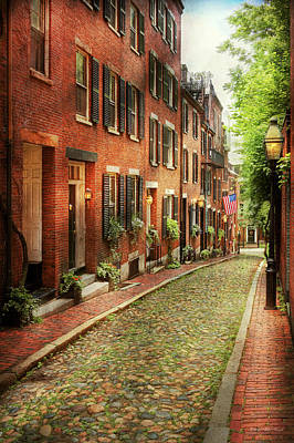 Poster featuring the photograph City - Boston Ma - Acorn Street by Mike Savad