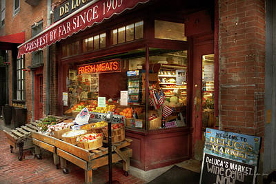 City - Boston Ma - Fresh Meats And Fruit Poster by Mike Savad
