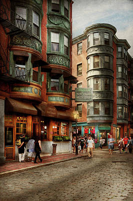 Poster featuring the photograph City - Boston Ma - The North Square by Mike Savad
