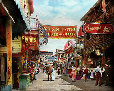 Poster featuring the photograph City - Coney Island Ny - Bowery Beer 1903 by Mike Savad