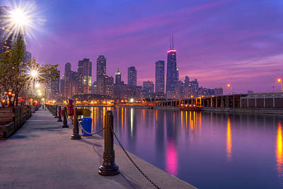City Dreams - Chicago Skyline As Night Falls Poster by Mark E Tisdale