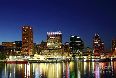 City Lights Reflected In Baltimore Inner Harbor At Twilight Poster
