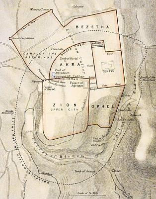 City Map Of Ancient Jerusalem Poster