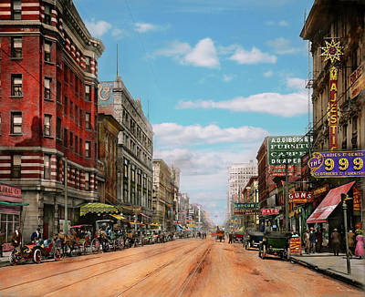 Poster featuring the photograph City - Memphis Tn - Main Street Mall 1909 by Mike Savad