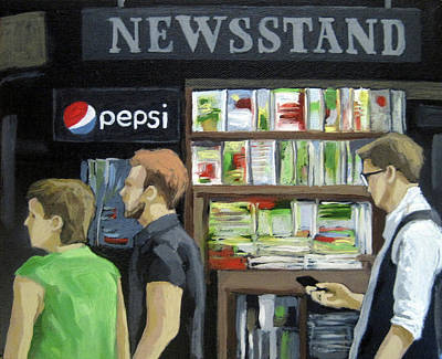 Poster featuring the painting City Newsstand - People On The Street Painting by Linda Apple