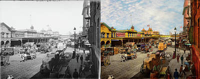 City - Ny - A Hundred Some Years Ago 1900 - Side By Side Poster