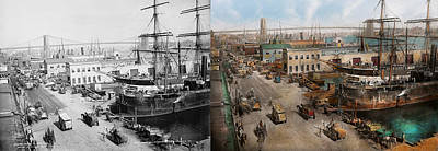 City - Ny - South Street Seaport - 1901 - Side By Side Poster by Mike Savad