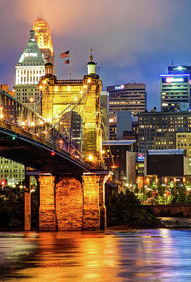 City Of Cincinnati And Roebling Bridge On The River Poster by Gregory Ballos