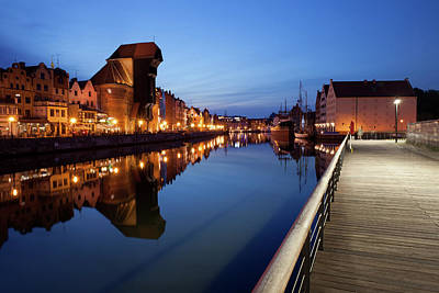 City Of Gdansk By Night In Poland Poster by Artur Bogacki