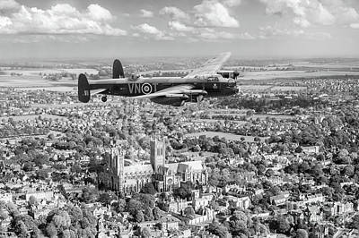 Poster featuring the photograph City Of Lincoln Vn-t Over The City Of Lincoln Bw Version by Gary Eason