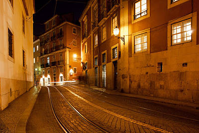 City Of Lisbon By Night In Portugal Poster by Artur Bogacki