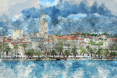City Of Split In Croatia With Birds Flying In The Sky Poster
