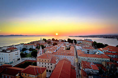 City Of Zadar Skyline Sunset View Poster