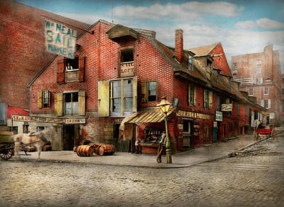 Poster featuring the photograph City - Pa - Fish And Provisions 1898 by Mike Savad