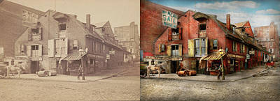 Poster featuring the photograph City - Pa - Fish And Provisions 1898 - Side By Side by Mike Savad