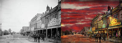 Poster featuring the photograph City - Palmerston North Nz - The Shopping District 1908 - Side By Side by Mike Savad