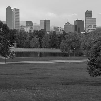 City Park And Denver Colorado Skyline - Black And White Poster by Gregory Ballos