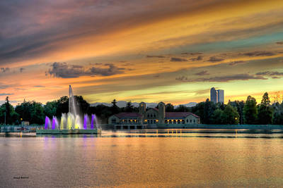 City Park Fountain At Sunset Poster by Stephen  Johnson