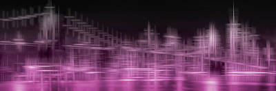City Shapes Manhattan Skyline And Brooklyn Bridge - Pink Poster