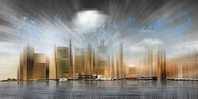 City Shapes Manhattan Skyline - Panoramic Poster by Melanie Viola