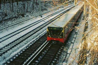 City Train In Berlin Under The Snow Poster