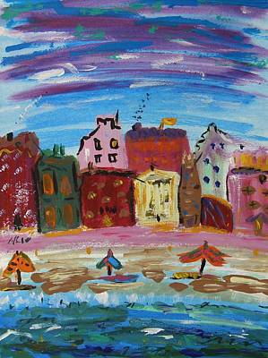 City With A Pink Boardwalk Poster by Mary Carol Williams