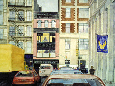 Poster featuring the painting Cityscape by Karen Zuk Rosenblatt