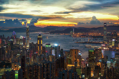 Cityscape Of Hong Kong And Kowloon  Poster