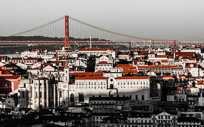 Lisbon In Black, White And Red Poster