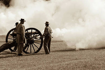 Civil War Era Cannon Firing  Poster