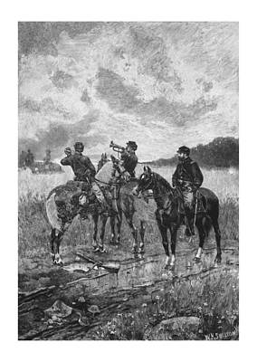 Civil War Soldiers On Horseback Poster