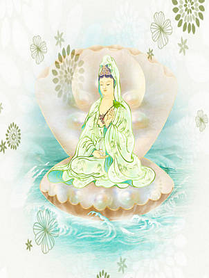 Clam-sitting Kuan Yin 1 Poster by Lanjee Chee