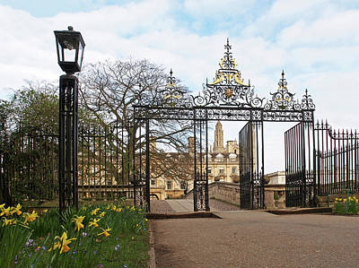 Poster featuring the photograph Clare College Gate Cambridge by Gill Billington