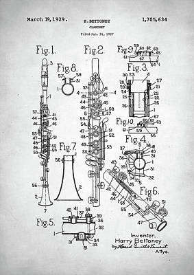Poster featuring the digital art Clarinet Patent by Taylan Apukovska