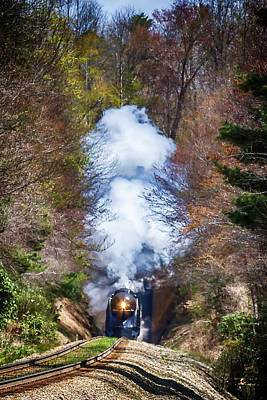 Class J 611 Steam Engine Exits Swannanoa Gap Tunnel Poster by John Haldane