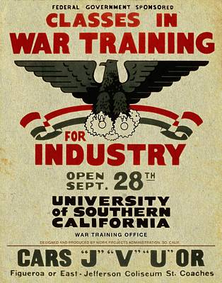 Classes In War Training For Industry - Vintage Poster Vintagelized Poster