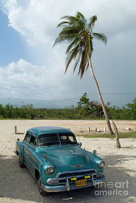 Classic American Car Parked At Ancon Beach Poster by Sami Sarkis
