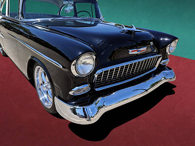 Classic Black And White 1950s Chevy Bel Air Poster