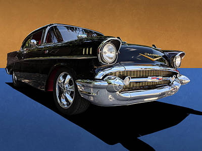 Classic Black Chevy Bel Air With Gold Trim Poster
