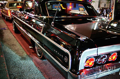 Poster featuring the photograph Classic Black Chevy Impala by Dean Harte
