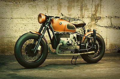 Classic Bmw Motorcycle Vintage Shot Against Concrete Wall Poster