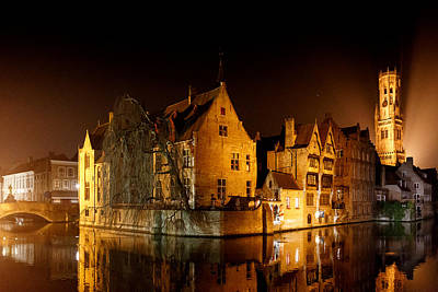 Poster featuring the photograph Classic Bruges At Night by Paul Indigo
