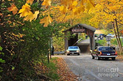 Classic Cars Crossing The Fallasburg Covered Bridge Poster by Terri Gostola