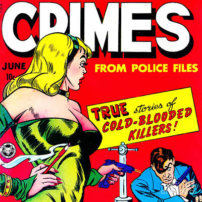 Classic Comic Book Cover Famous Crimes From Police Files 0112 Sq Poster by Wingsdomain Art and Photography