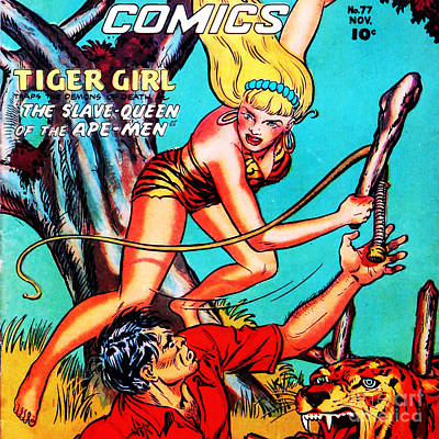 Classic Comic Book Cover Fight Comics Tiger Girl 77 Square Poster by Wingsdomain Art and Photography