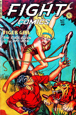 Classic Comic Book Cover Fight Comics Tiger Girl 77 Poster by Wingsdomain Art and Photography